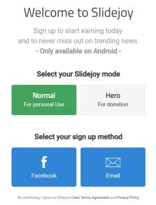 slidejoy sign up