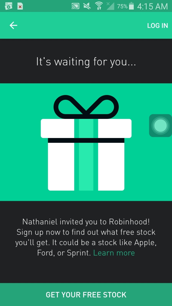 robinhood app first open
