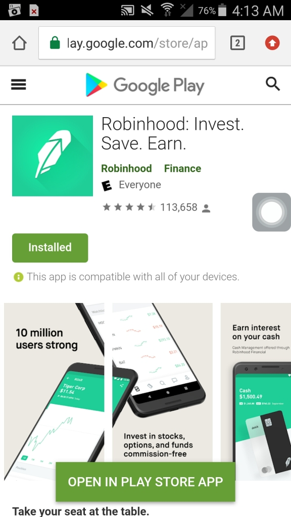 robinhood app installed