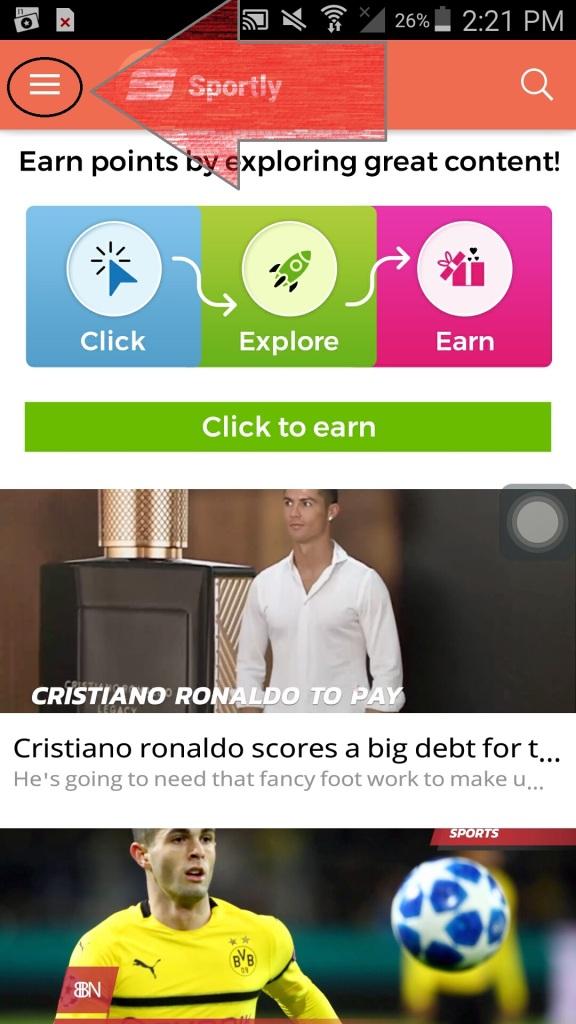 sportly tv app menu