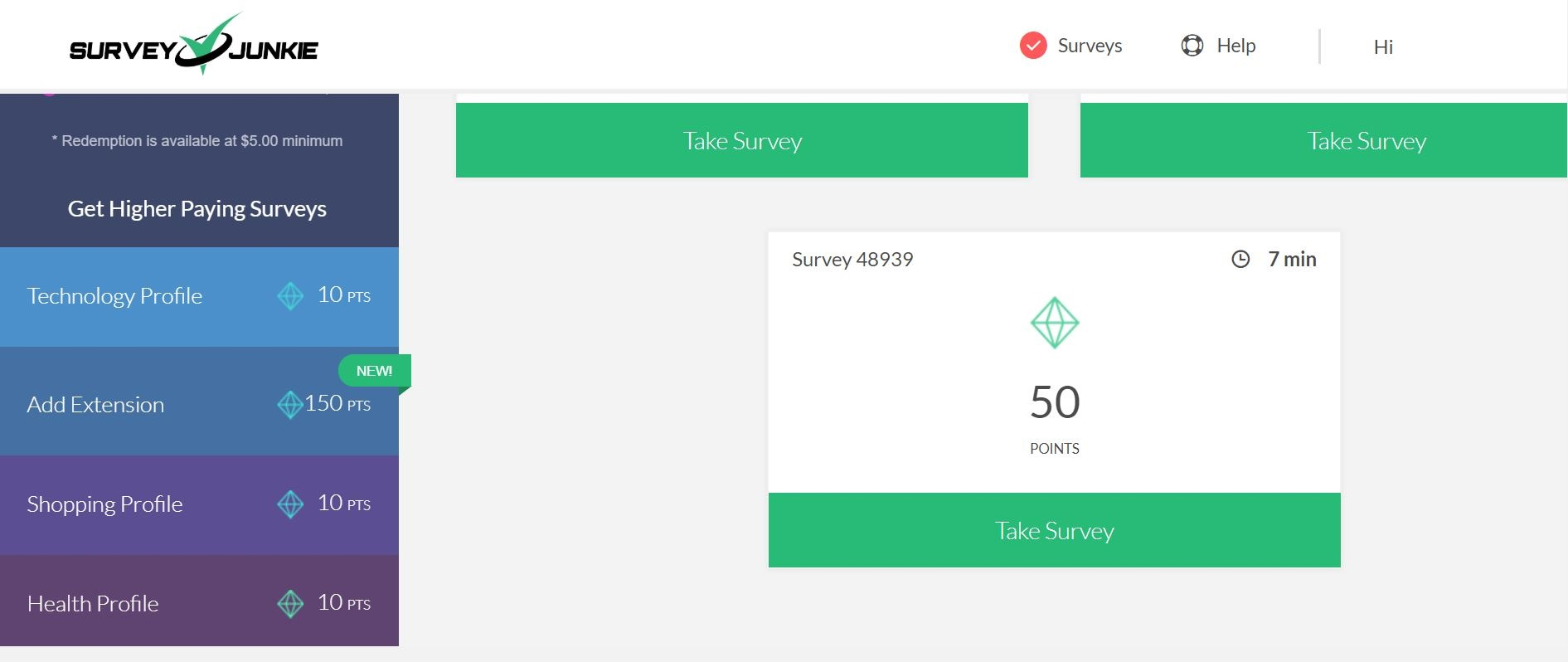 survey junkie dashboard